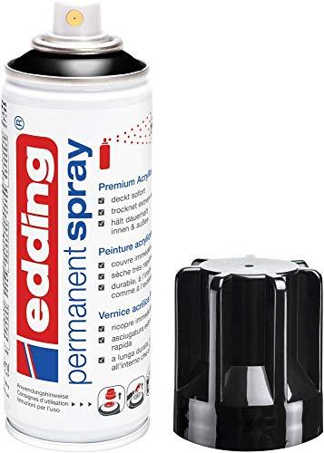 edding 5200 Permanent-Spray - tief-schwarz glänzend - 200 ml - Acryllack zum Lackieren und Dekorieren von Glas, Metall, Holz, Keramik, lackierb. Kunststoff, Leinwand, u. v. m. - Sprühfarbe