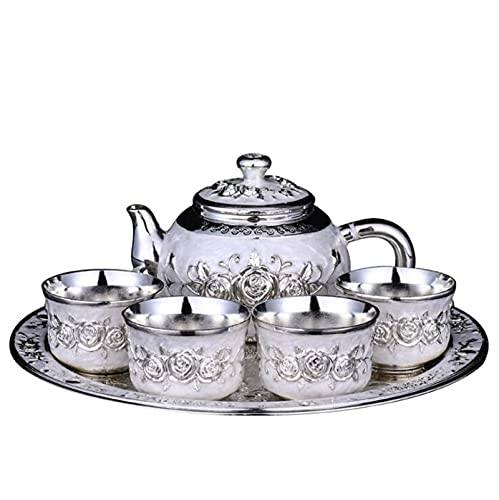 JUNMIN Juego de té de Plata de Alta Gama de Estilo Europeo, Conjunto de té Plateado en Rosa, Caja de Regalo de Copa de Vino de 6 Piezas (Color : Silver, Size : 6PCS)