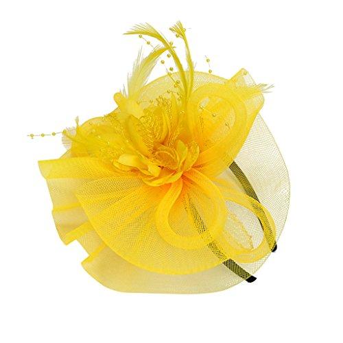Sharplace Schöne Frauen Lady Girls Fascinator Stirnband Schleier Feder Hut für Cocktail Party Kostüm - Gelb