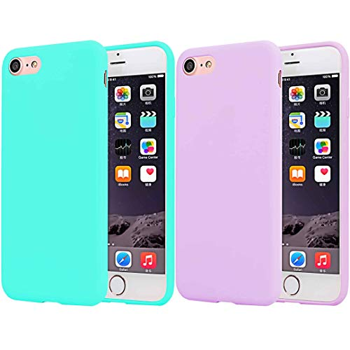 [2pack] CaseHQ Compatible with iPhone 6 Plus Case/iPhone 6S Plus Case, Ultra Thin Slim Fit Silicone Gel Rubber TPU Shell Cover,Shock Absorption and Anti Scratch Finish-Teal+Pink