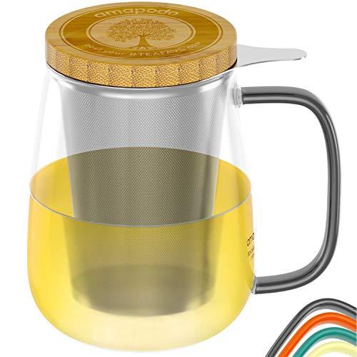amapodo theekopje groot met deksel en zeef 700 ml - XXL kantoor theebeker voor losse thee of theezakjes, cadeau-idee, mok roestvrijstalen filter