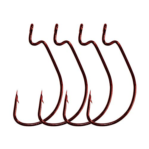 LikeFish 30pcs/Pack Offset Worm Fishing Hooks Black/Red Color Fishing Hook (Red, 5/0)