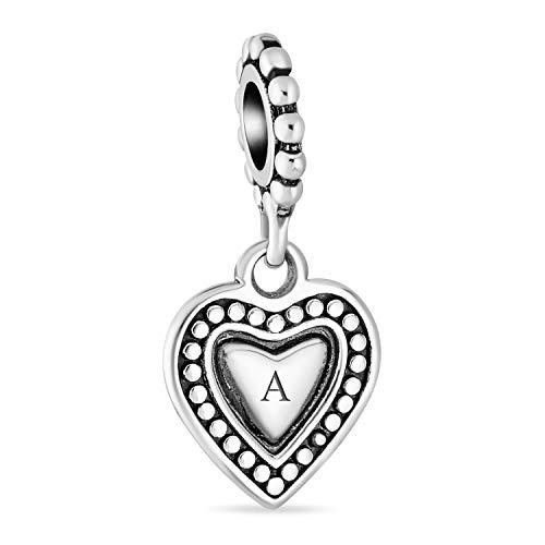 Vintage estilo personalizado regalo Dangle inicial corazón encanto cuenta para las mujeres para adolescente sólido .925 plata de ley se adapta pulsera europea personalizado grabado grabado