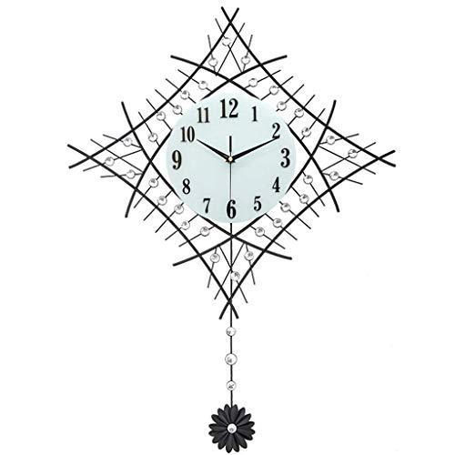 AIOJY Modern Wall Clock, Vintage Metal Reloj De Pared De Cristal Diamantes De Lujo Gran Péndulo Reloj Hogar Decoración Sala De Estar Reloj De Oficina