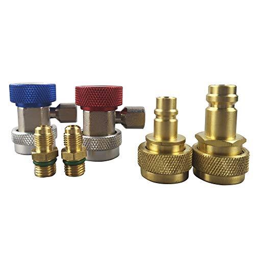 Wisepick verstellbarer R134a & R1234yf AC manueller Schnellkupplungsadapter Klimaanlage Kühlung Freon Manifold Gauge Schlauchverbinder