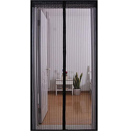 Cortina Mosquitera Magnetica,Puertas Mosquiteras Magnética Automático Cierra Automáticamente Para Puertas Correderas Balcones Terraza-70x200cm(28x79pulgada)-negro