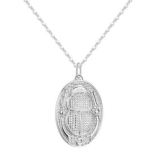 XZZZBXL Damenhalskette Ägyptische Hieroglyphen Kartusche Skarabäus Käfer Charm Anhänger mit Halskette das Alte Ägypten männlichen Halsketten für Frauen Männer Schmuck