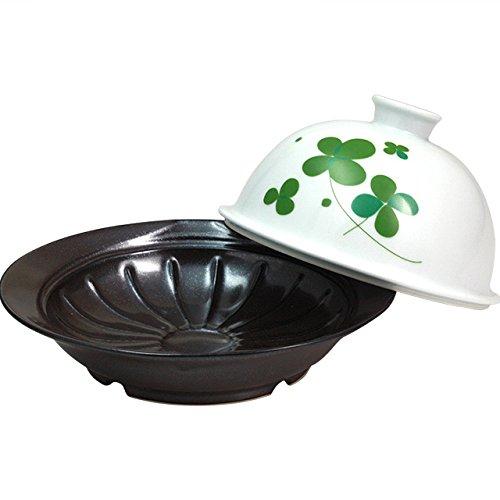 ランチャン(Ranchant) メタボ蒸すクック グリーン 皿:17.9x19.5x4.3蓋:Φ15.5x8.5(cm) クローバー(太白) 有田焼 日本製