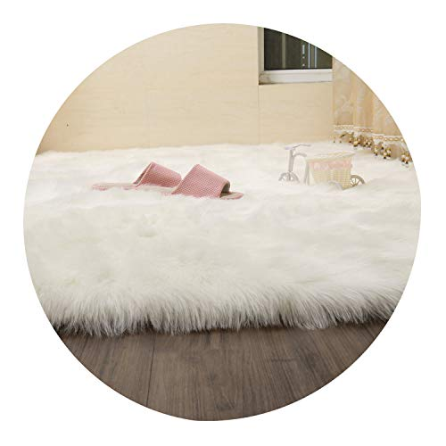 Daydreaming-shop Carpet Hairy Carpets Sheepskin Plain Fur Skin Fluffy Bedroom Faux Mats Washable Artificial Textile Area Square Rugs,White,90X110