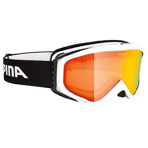 ALPINA Turbo HM/MM Skibrille für Kinder, Weiß/Orange/Hellblau, Einheitsgröße