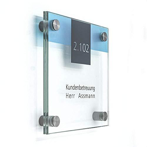 Plaque de porte verre pour le bureau, 150x 150mm, vitum B4