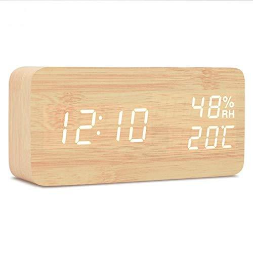 CHENXQ LED Display Multifunctionele Klassieke Desktop Alarm Klok Houten Elektronische Digitale Alarm Klok Nachtkastje Woonkamer