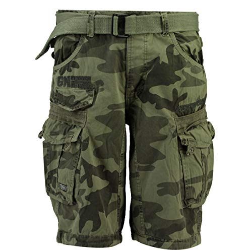 Geographical Norway Herren Cargo Shorts Panoramique Camo Kurze Sommer Hose inkl. Gürtel, Seitentaschen Light Grey L