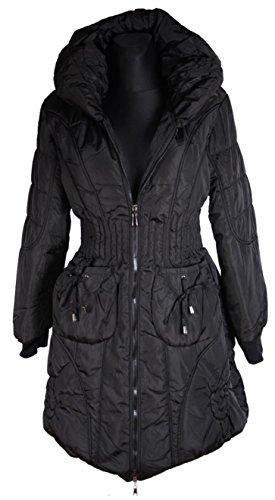 Grisodonna.Style Damen Winter Jacke Parka Ballon Stepp Mantel 38 40 42 44 46 48 50 S M L XL XXL Coat Schwarz Anorak (40)