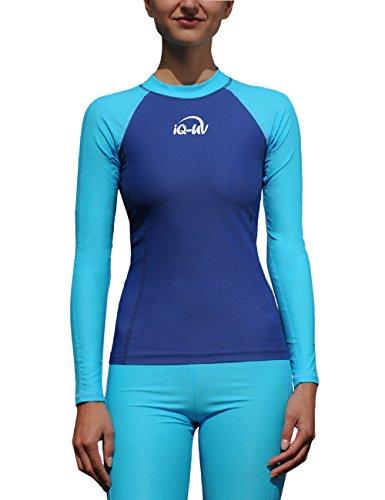 IQ-Company T- Shirt Lycra Femme Slim Manches Longues IQ 300, Vêtement Anti-UV, Turquoise-Navy, FR Taille Fabricant : XS (36)