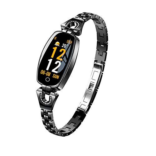 Montre Intelligente H8 Montre de Sport étanche pour Femmes Bracelet Appel d'alerte de Vibration podomètre de fréquence Cardiaque en métal, Montre pour Femmes de Mode Intelligente Black