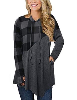MOOSUNGEEK Sweatshirt Tunic,V Neck Pullover Hoodie Sweatshirts Pocket
