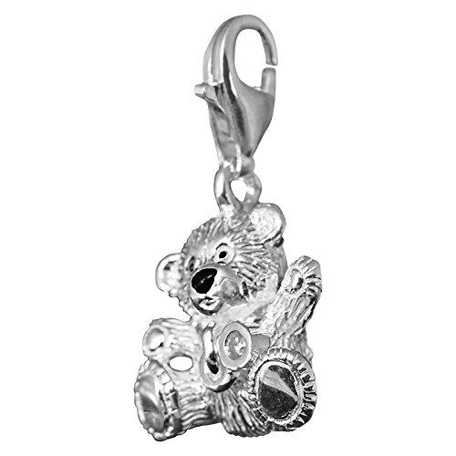 Thomas Sabo Damen-Anhänger Diamond Charm Club Bär mit einem echten Diamant schwarz emailliert 925 Sterling Silber DC0021-154-14