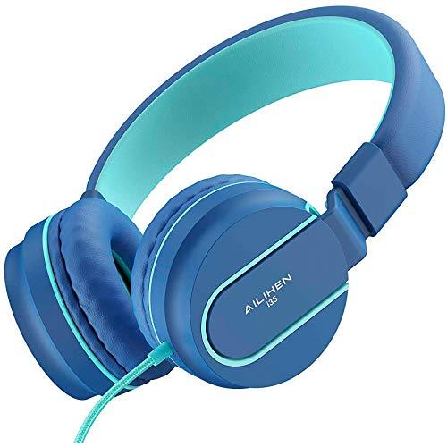 AILIHEN Kinder Kopfhörer mit Kabel Mikrofon 85dB Lautstärkeregler Faltbarer Leicht Kinderkopfhörer 3.5mm Jungen Mädchen On-Ear Headsets für Schul Chromebook Handys Tablets (Indigo)