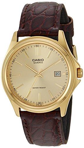 Casio, orologio da uomo MTP1183Q-9A al quarzo, cinturino in pelle, colore del quadrante: oro