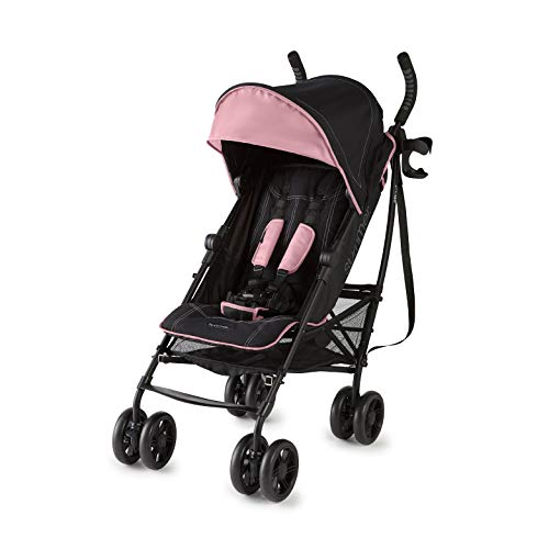 Summer 3Dlite+ Convenience Stroller, Pink/Matte Black  Lightweight Umbrella Stroller with Oversized Canopy, Extra-Large Storage and Compact Fold