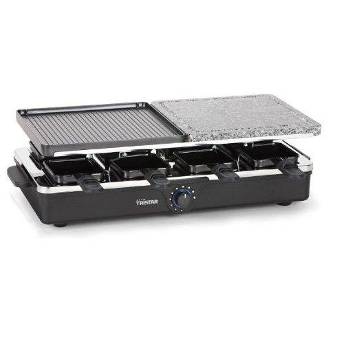 Tristar Raclette Grill/ Steingrill für bis zu 8 Personen - mit 8 Pfännchen und wechselbarer Grillplatte, RA-2992