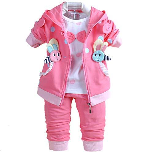 Baby Mädchen 3-teilige Sets T-Shirt Weste und Hose (pink, 12-18M)