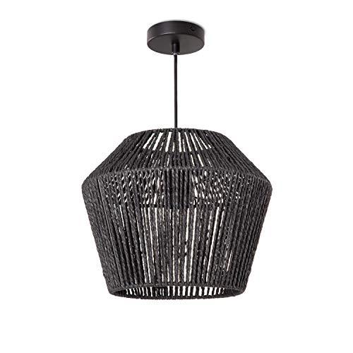Lámpara LED De Techo E27, Diseño Bohemio Ratán Mimbre Salón Comedor Pasillo, Pantalla de lámpara:Negro (Ø33 cm), Tipo de lámpara:Lámpara Colgante Negro