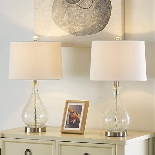 Maxax Bedside Table Lamps Set of 2, Glass Nightstand Lamp with White Fabric Shade for Living Room Bedroom Coffee Table, Clear Finish