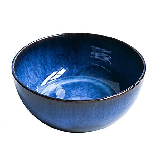 YLMF Cuenco de Ramen Grande de cerámica Color Glaze Craft Hogar Creativo Ensaladera Lavaplatos Microondas Textura Segura Diseño Antideslizante Gradiente Azul 9 Pulgadas