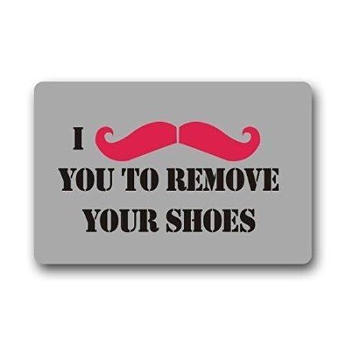 Homie Design Paillasson lavable Inscription I Mustache You To Remove Your Shoes Intérieur / Extérieur 23,6 x 15,7 cm