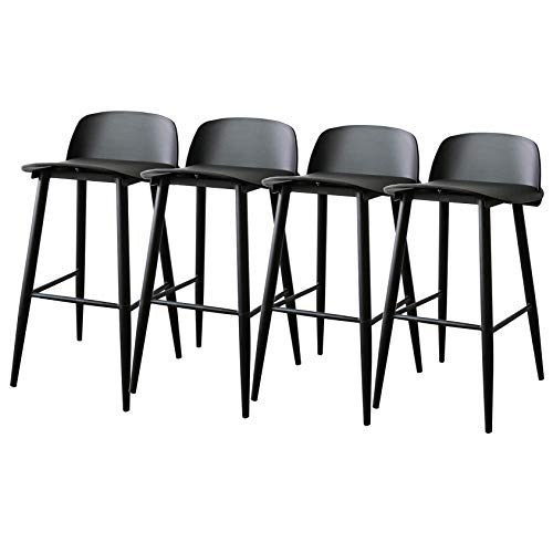AYU Coffee Kitchen Dining Chair, Counter Height Chairs, Modern Barstool Set of 4, PP Plastic Seat with Backrest and Metal Legs (Steel), Seat Height 29.5inch - Blue/Black/Red/Gray/Pink/White