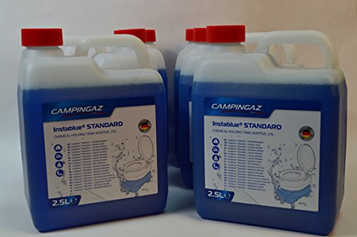 10 Kanister CAMPINGAZ a 2,5L (Gesamtmenge: 25L) Instablue® Standard Sanitärflüssigkeit für Chemietoiletten Toilette Chemietoilette Toiletten Camping Wohnwagen Wohnmobil