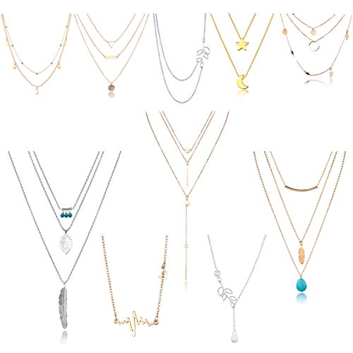 TAMHOO Boho 10pcs Layered Necklace Pendant Moon Star Turquoise Feather Olive Leaf Heartbeat Coin Chain Girls Women Mother Jewelry Set