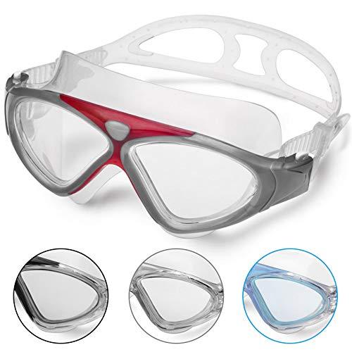 Occhiali da Nuoto per Adulto Anti Nebbia Nessuna Fuoriuscita Visione Chiara UV Protezione Facile da Regolare Professionale + Comodo per Uomo e Donna (Red/Clear Lens)