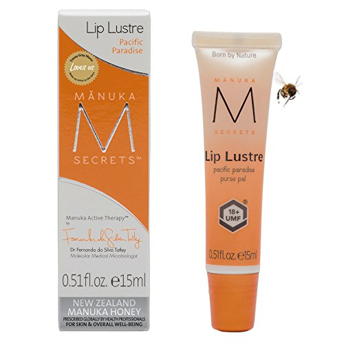 Manuka Secrets Lip Lustre Moisturizing Cream with UMF 18 Manuka Honey and Apricot Oil 0.5oz, Best Lip Balm for Dry, Cracked Lips, Reduces Mouth Wrinkles