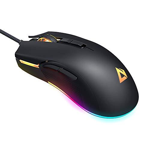 AUKEY RGB Gaming Maus, 5000 DPI FPS-Maus mit 16,8 Millionen Farben, 6 Programmierbare Tasten, Ergonomisches Design, Hochpräzise Optische Computermaus für PC und Laptop Gamer, Schwarz