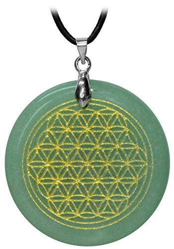 Kaltner Präsente–Idea regalo–Cadena de cuero para mujer y hombre con discos, colgante de la piedra preciosa venturina (diámetro de 38cm) con motivos de la flor de la vida