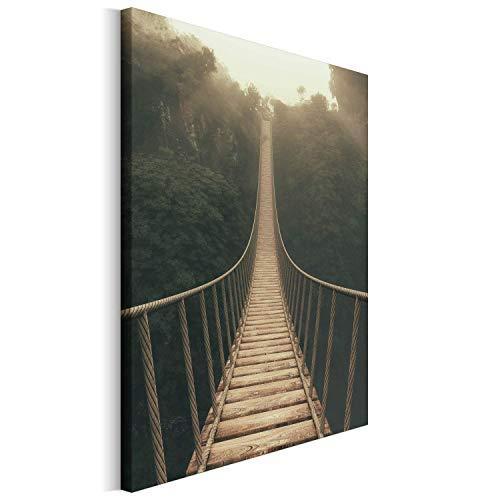 Revolio - Cuadro en Lienzo - impresión artística - Decoracion de Pared - Tamaño: 30x40 cm - Puente Colgante marrón