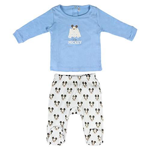 CERDÁ LIFE'S LITTLE MOMENTS 2200005545 Conjunto Polaina y Body para Recién Nacido de Mickey - Mouse - Licencia Oficial Disney Studios, Azul, Blanco, 1-3 meses para Bebés