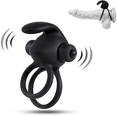 Waterproof Vǐbrator Soft Black Vǐbrating Cǒck Ring Training Ring for Men Longer Lasting Rabbit Shape with 100% Secret Packing