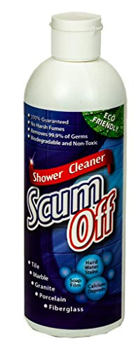 Scum Off No Harsh Chemical Shower Cleaner for Fiberglass, Tile, Grout, Stone, Porcelain, Acrylic, Hard Water Spots, Calcium & Mineral Deposits, Soap Film, Mold & Mildew, 16 oz, 1-Pack