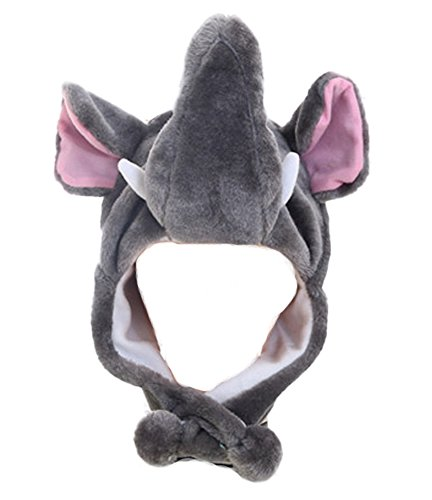 DELEY Unisex Frauen Mädchen Kinder Winter Warm Plüsch Tier Ohrenschützer Hüte Mützen Weihnachten Halloween Kostüm Geschenk Elefant