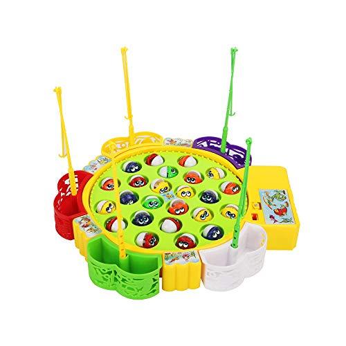 Sipobuy Go Fishing Game Fischspielzeug Musikalisches Brettspiel mit 5 Angelruten Rotierendes Brettspiel Geschenke für Kinder Mädchen Jungen 3 4 5 Jahre alt