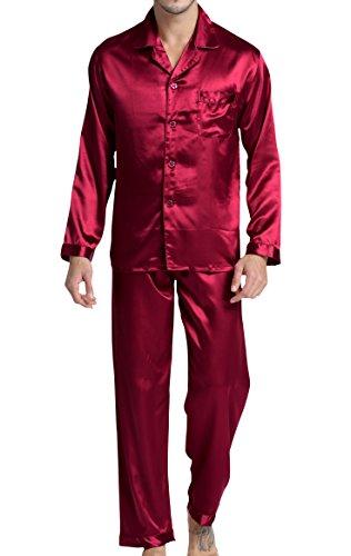 Herren Schlafanzug Pyjama Set Satin Nachtwäsche mit Langen Ärmel Loungewear (Burgund, L)
