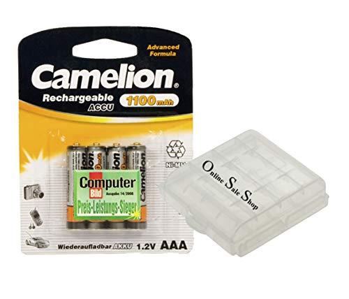4X Camelion AAA Akku 1100mAh für Telefon Siemens Gigaset A400 A415A A510A C610A C610H E300 Telekom Sinus 300 302i A300 128 180 182 200 280 380 S670 S 79H S79H E300 E310 E310A +OSS Akkubox