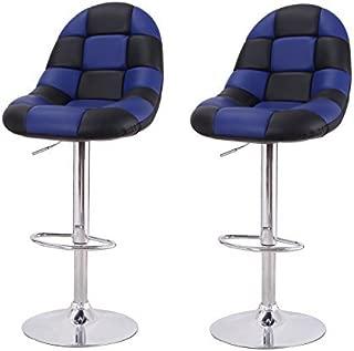 Adeco Black & Blue Pattern Cushioned Leatherette Adjustable Barstool Chair Chrome Finish Pedestal Base, Blue Black
