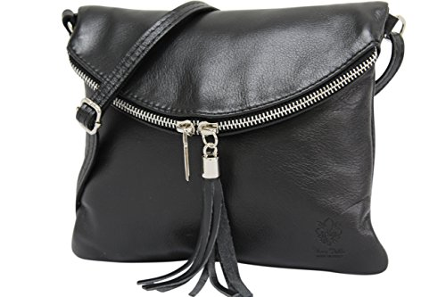 Ambra Moda Borsa a tracolla donna Piccola borsa italiana realizzata in morbida vera pella SAVAGE NL610 (nero)