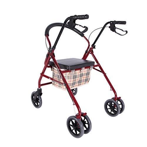 Roller Walker médico Plegable, Andador con Ruedas con Asiento, Sistema de Frenos Dobles de 4 Ruedas con Movilidad para Caminar, Usado para Personas Mayores,Red