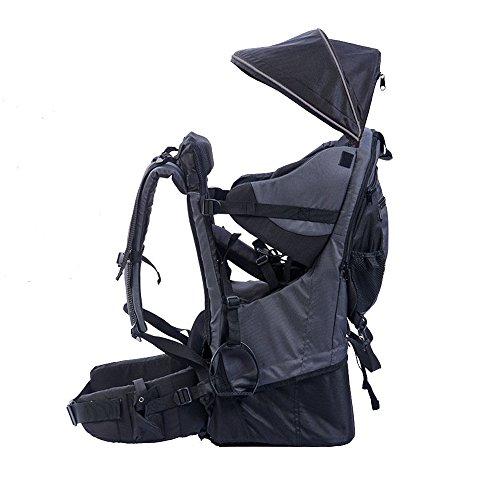 Rucksacktrage für Babys und Kleinkinder, Wander-Transport-Rucksack, Regenschutz und Sonnenschutz für das Kind, Schwarz